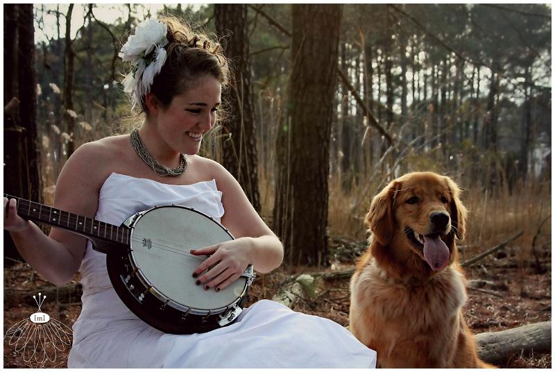 Bride with a Banjo, Golden Retriever, Pet Bridal Photos