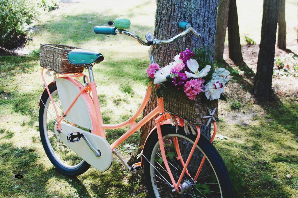 Bicycle with Basket of Flowers