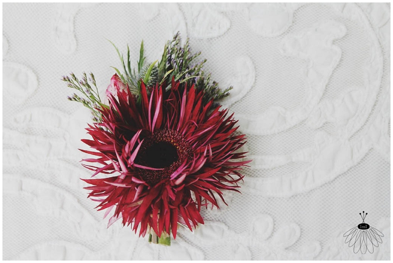 Gerber Daisy Thistle Boutonniere