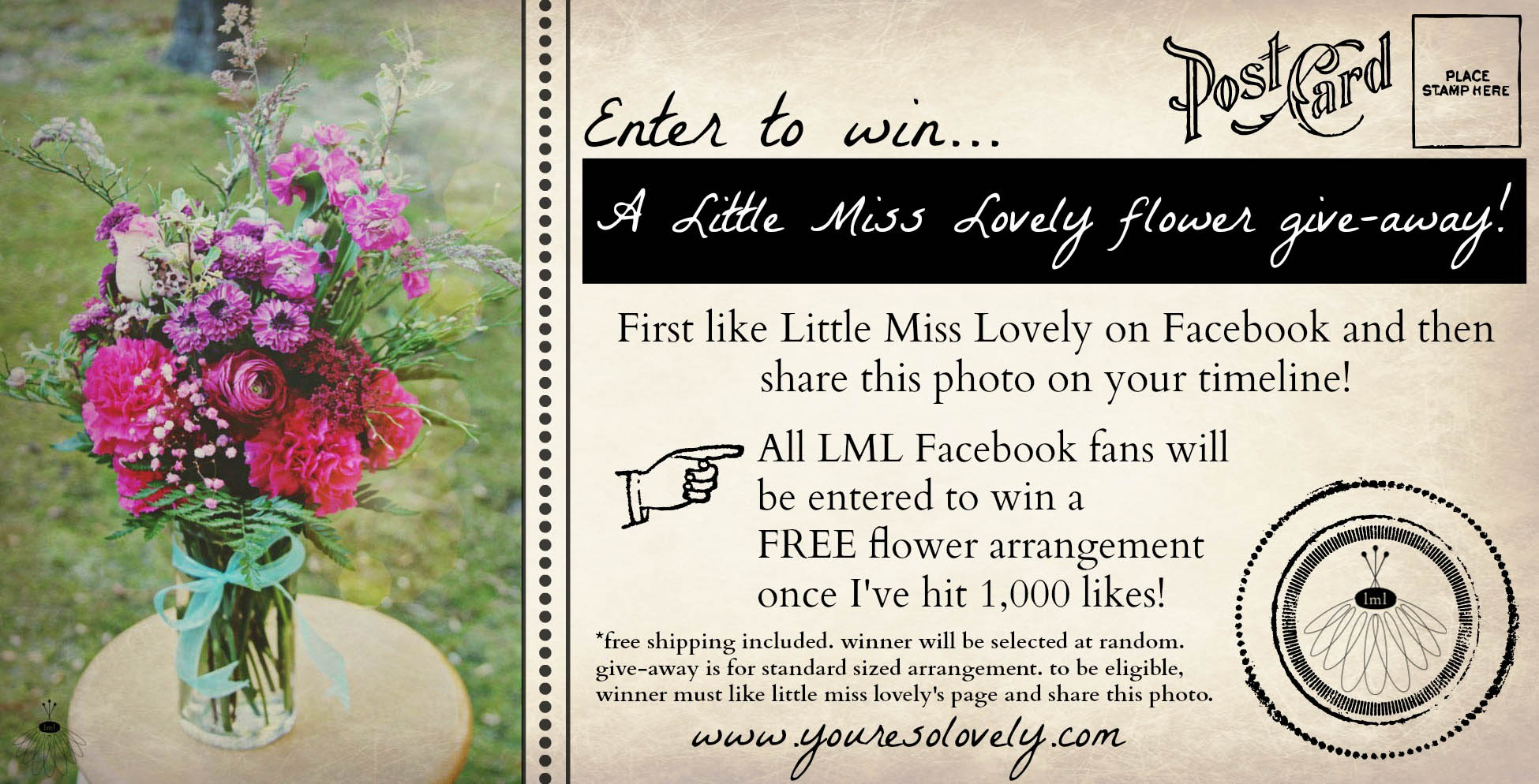 little miss lovely facebook flower giveaway
