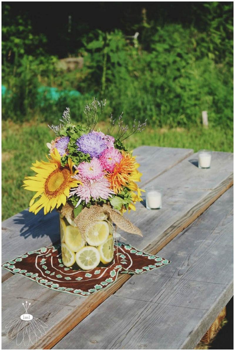 little miss lovely flower arrangement with lemon slices