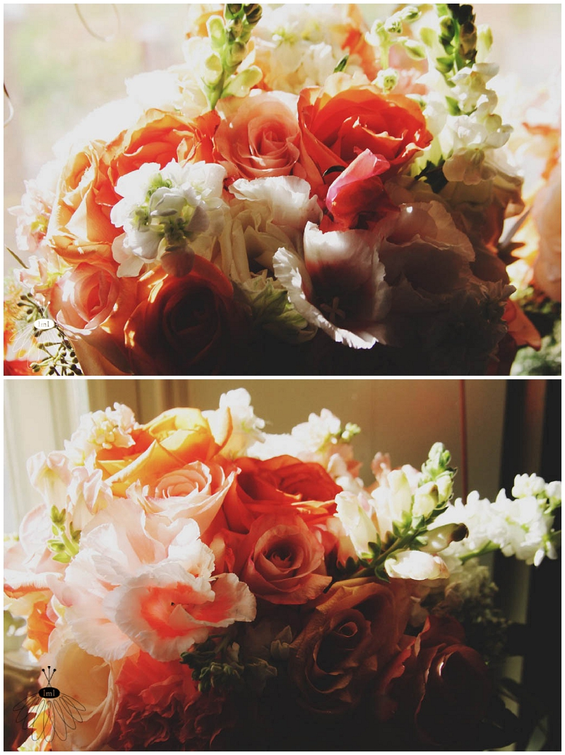 peach coral white wedding flower bouquets little miss lovely