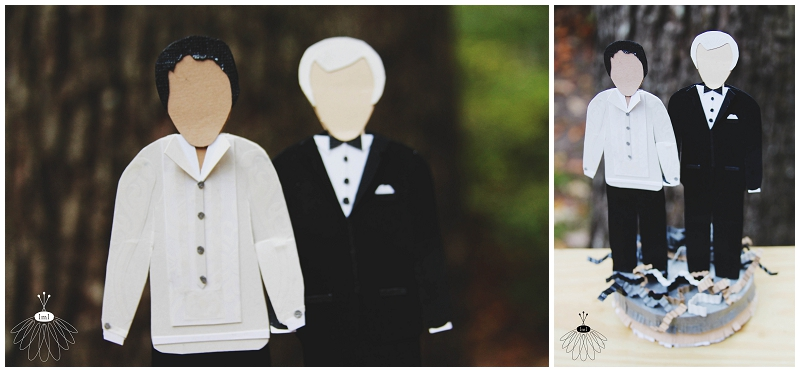 customized paper cake topper - groom groom couple - bride groom couple - little miss lovely berlin md