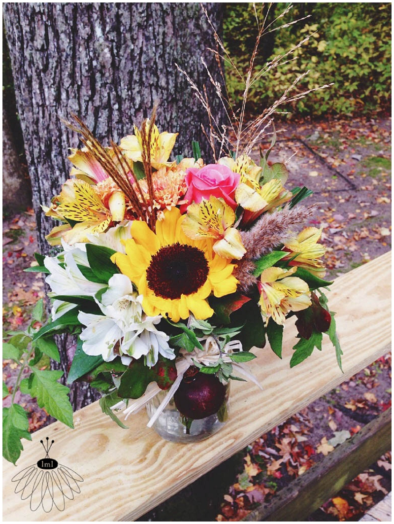 pomegranate rustic flower arrangements - sunflowers hydrangea - little miss lovely florist berlin md