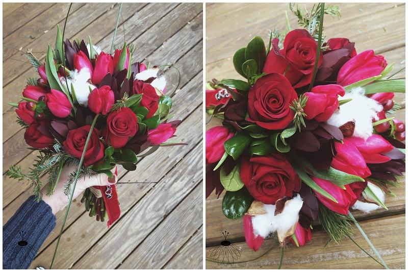 little miss lovely winter beach wedding cotton bouquet red seashell (4)