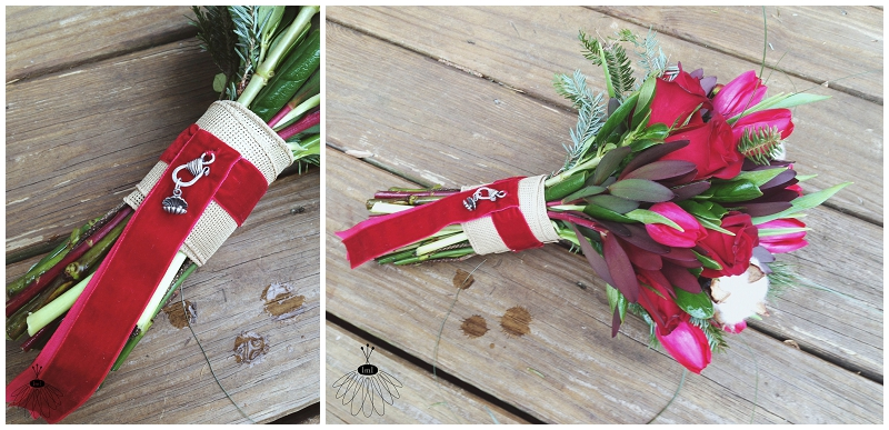 little miss lovely - holiday winter red bouquet featuring cotton