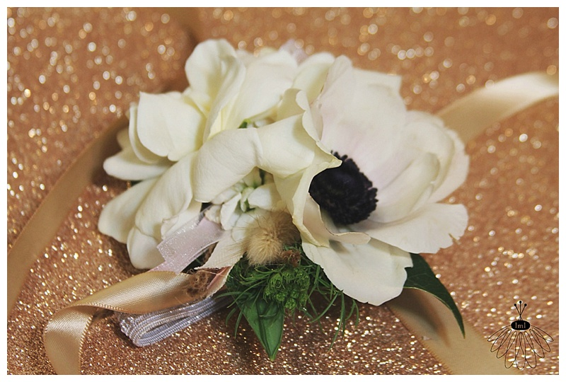 Little Miss Lovely // Wedding Wrist Corsage White Gardenia Anemone Poppy