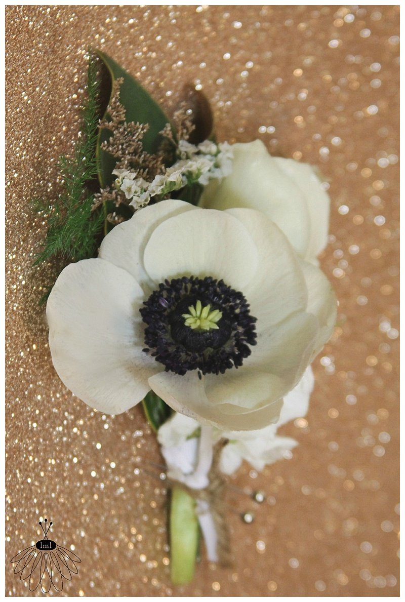 Little Miss Lovely // Wedding Groom Bout White Anemone Poppy Black Center Boutonniere