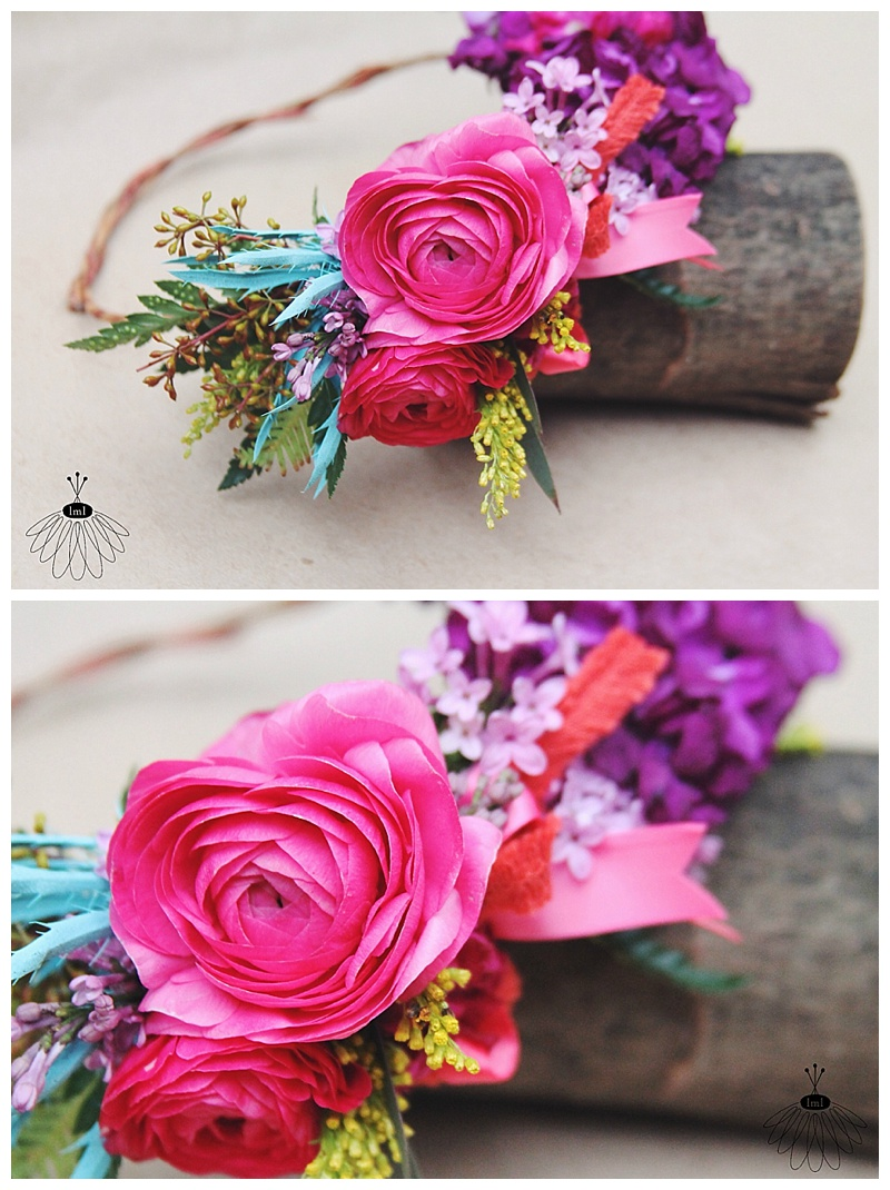 Colorful Spring Wedding Flowers by Little Miss Lovely // J + T Wedding // Mardella Springs, MD // Flower Crown