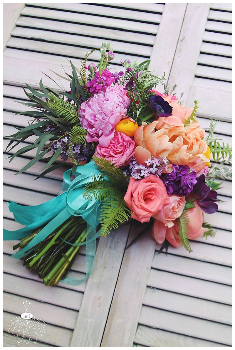 Colorful Spring Wedding Flowers by Little Miss Lovely // J + T Wedding // Mardella Springs, MD // Bride's Bouquet