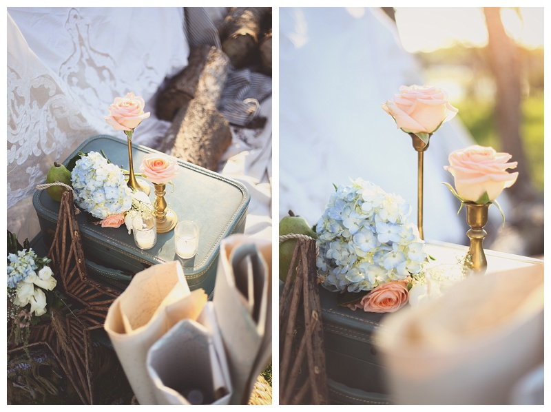 Woodsy Bohemian Spring Styled Bridal Shoot // Little Miss Lovely // Brass Candlesticks with flowers