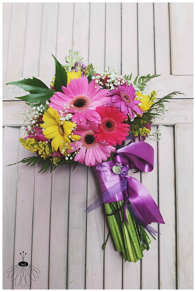 little miss lovely // wedding florist // pink purple yellow gerber daisy bridesmaid bouquet
