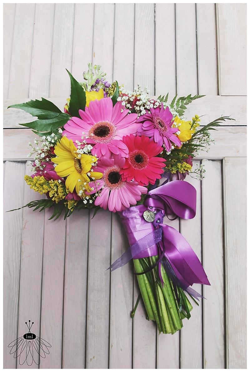 little miss lovely // wedding florist // pink purple yellow gerber daisy bridesmaid bouquet