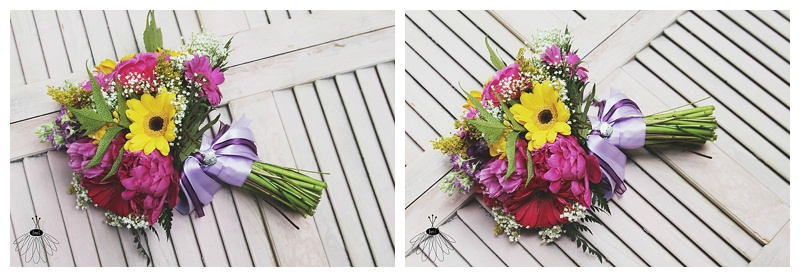 little miss lovely // wedding florist // pink purple yellow gerber daisy maid of honor bouquet