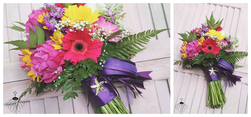 little miss lovely // ocean city md wedding florist // pink purple yellow gerber daisy bridal bouquet // starfish