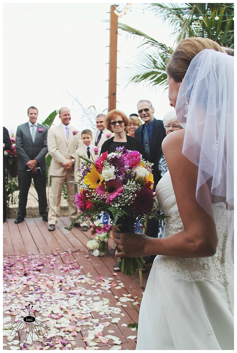 little miss lovely // ocean city md wedding florist // pink yellow purple gerber daisy bouquet
