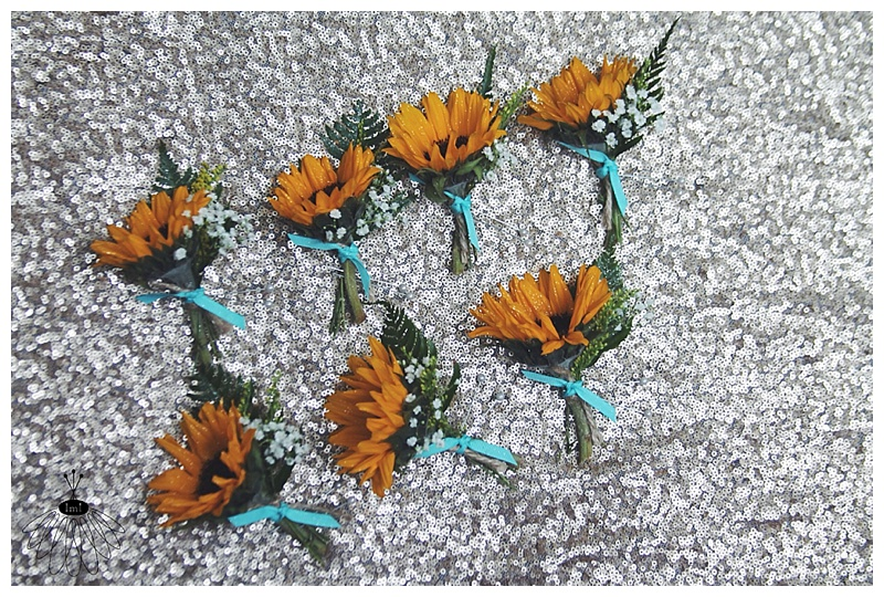 little miss lovely // rustic country sunflower boutonnieres // salisbury, md