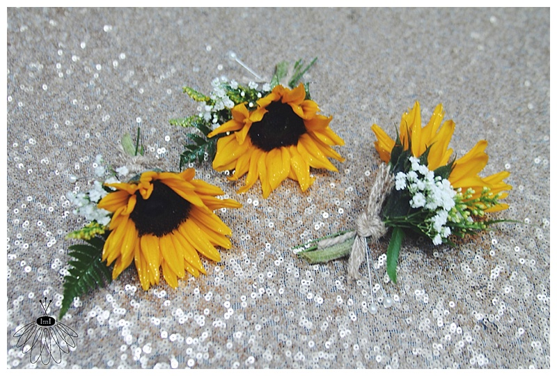 little miss lovely // rustic country sunflower boutonnieres // salisbury, md // burlap & twine