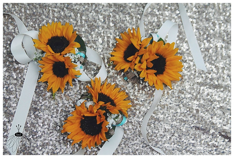 little miss lovely // mother wrist corsages // sunflowers, burlap, twine, rustic wedding flowers