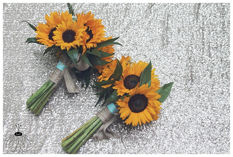 little miss lovely // wedding florist // sunflower twine burlap mint bridesmaid bouquets
