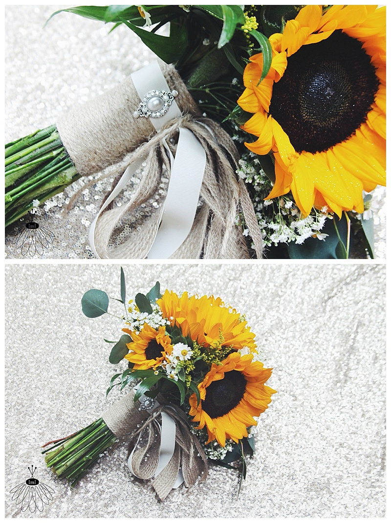 little miss lovely // wedding florist // sunflower twine burlap mint bridal bouquets