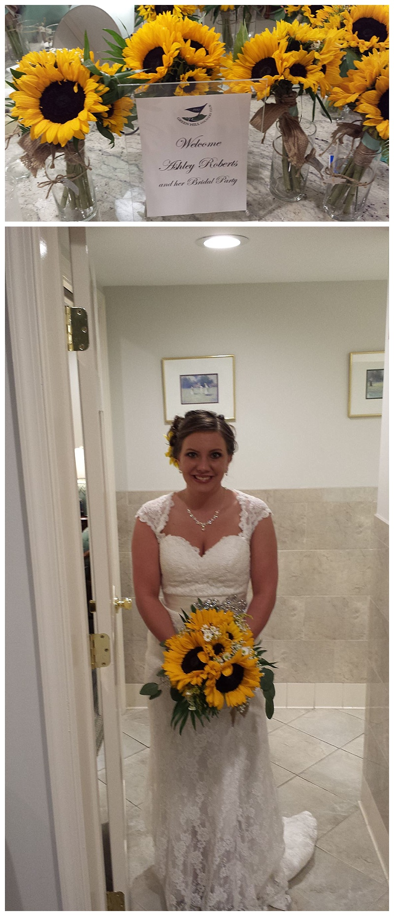 little miss lovely // wedding florist // sunflower and daisy bouquet // green hill country club, salisbury, md