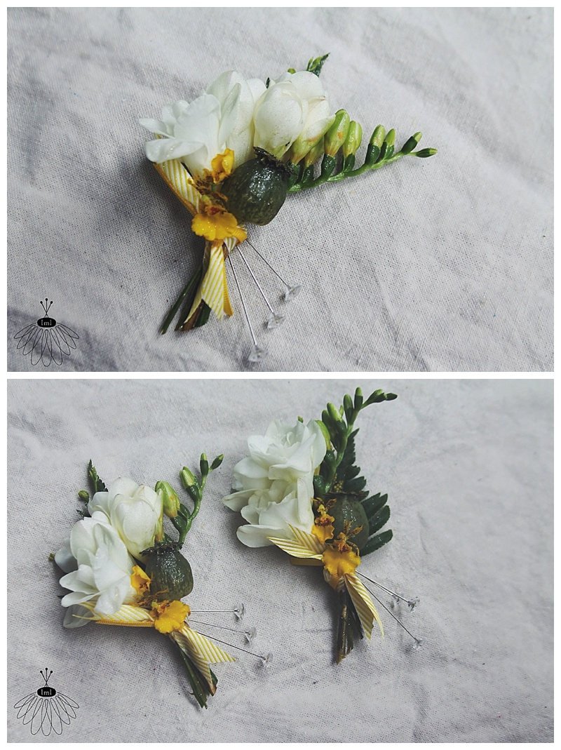 little miss lovely // white freesia and poppy mother corsages // wedding flowers // ocean city, md