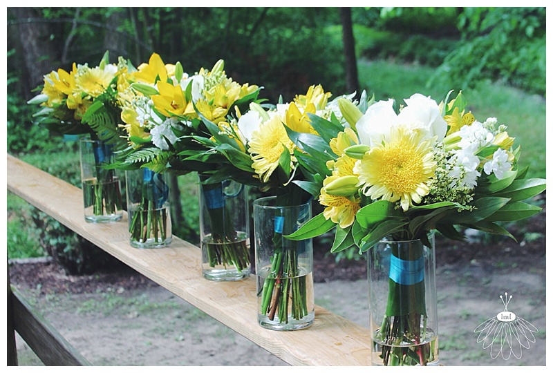little miss lovely // ocean city md florist // wedding florist // beach wedding // yellow, teal, white bouquets
