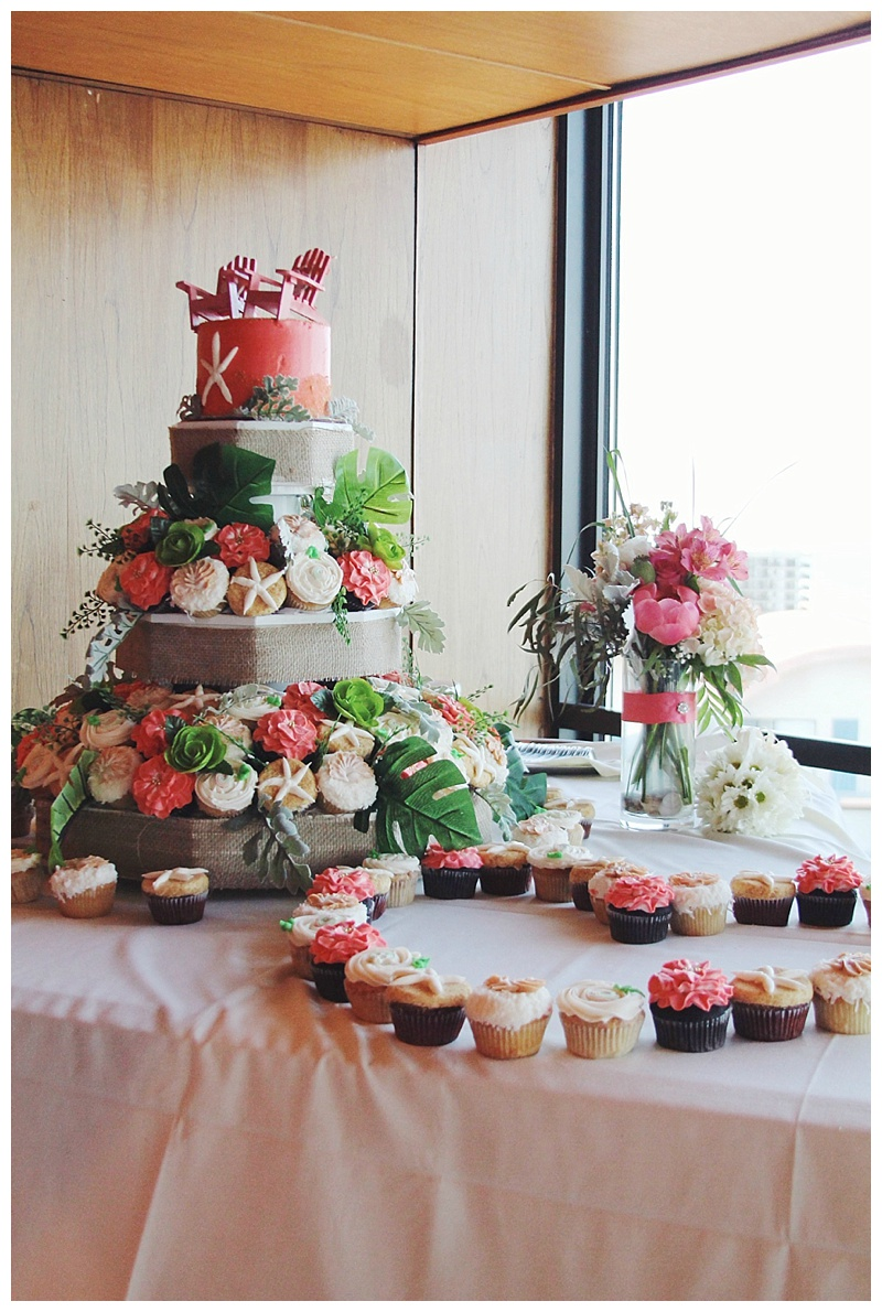 little miss lovely // ocean city, md wedding florist // beach wedding // Golden Sands // coral ivory // cupcakes in bloom