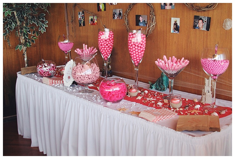 little miss lovely // ocean city, md wedding florist // beach wedding // Golden Sands // coral ivory // candy bar