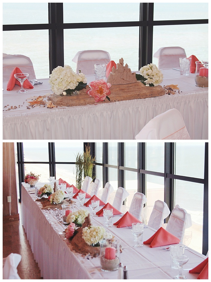 little miss lovely // ocean city, md wedding florist // beach wedding // Golden Sands // coral ivory sandcastle centerpiece