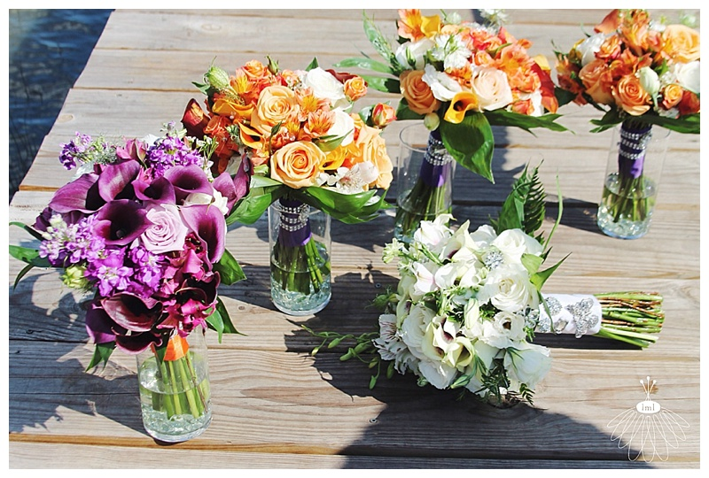 little miss lovely // wedding florist // baltimore md wedding // calla lily bouquets // orange purple white