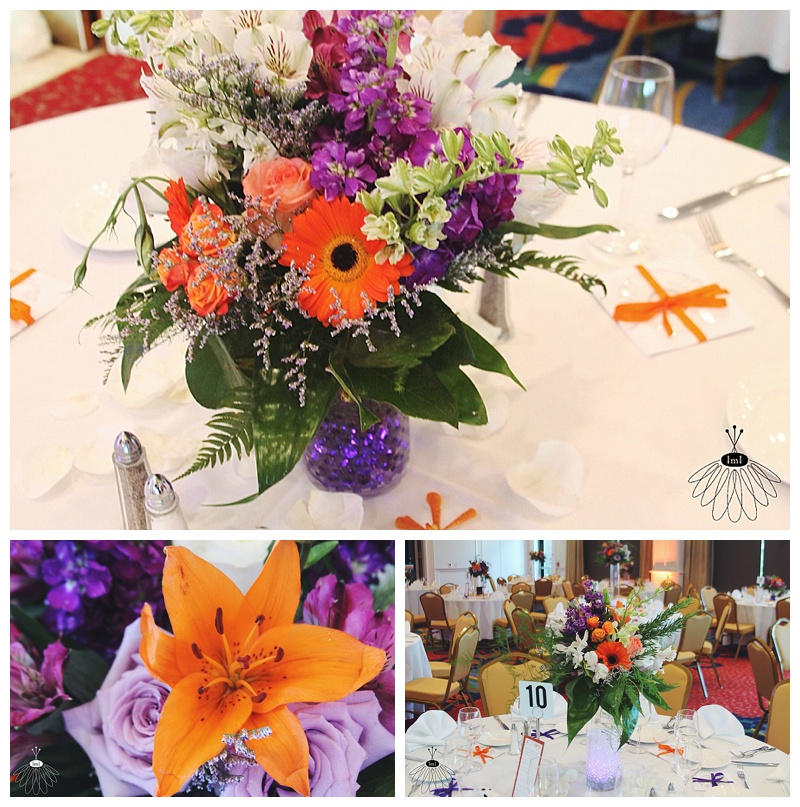 little miss lovely // wedding florist // Aberdeen MD wedding // orange and purple centerpieces
