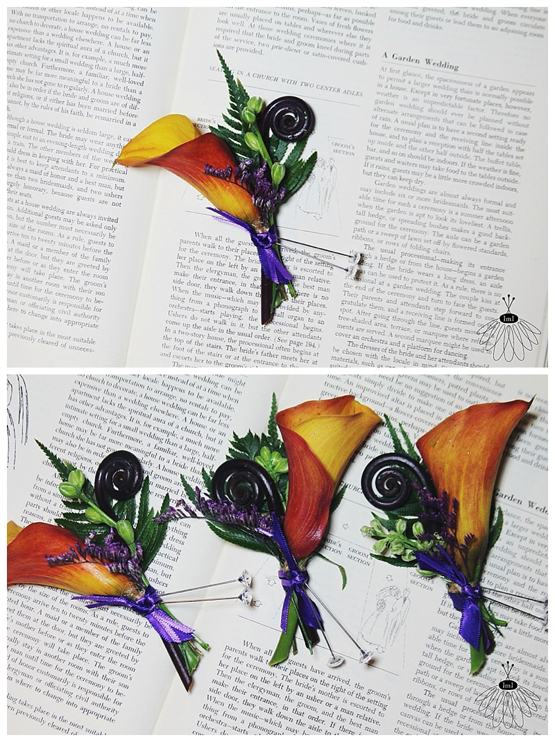 little miss lovely // wedding florist // baltimore md wedding // calla lily bouquets // orange calla lily boutonnieres
