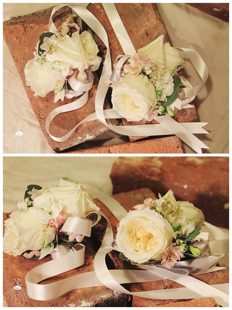 little miss lovely // berlin md wedding florist // eastern shore // white garden rose wrist corsage