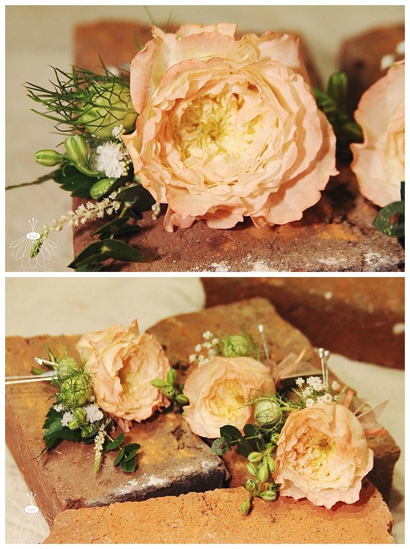 little miss lovely // ocean city berlin md wedding florist // peach english garden rose boutonnieres