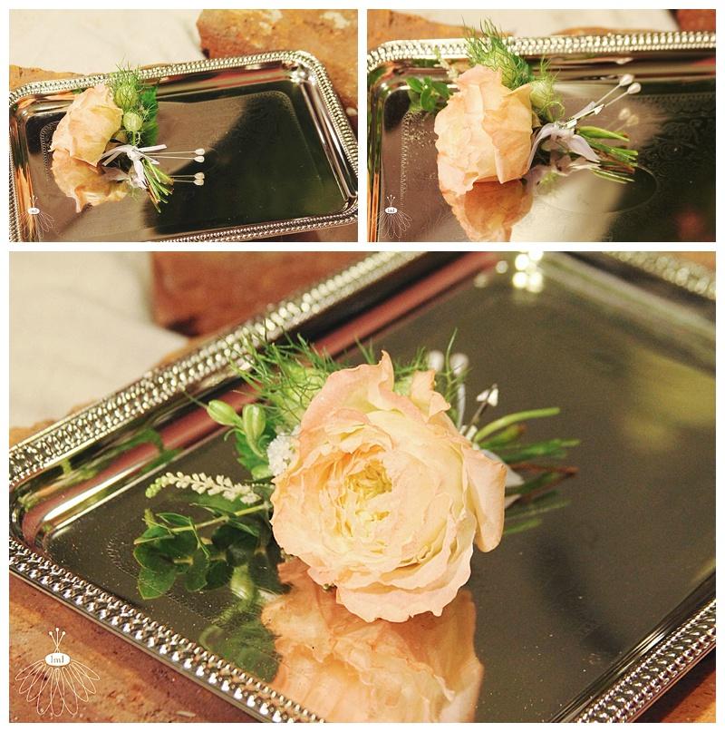 little miss lovely // ocean city berlin md wedding florist // peach english garden rose boutonniere
