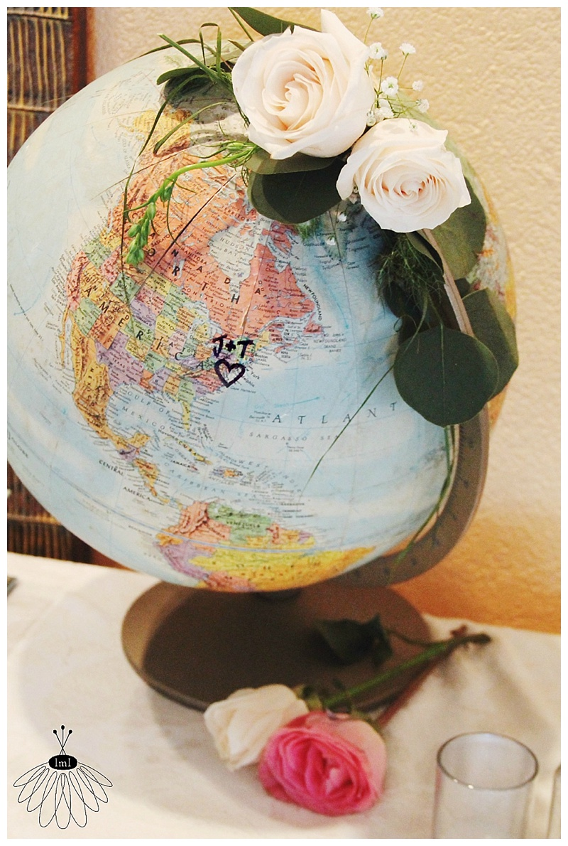 little miss lovely // ocean city maryland wedding florist // coconut malorie // geography globe with flowers