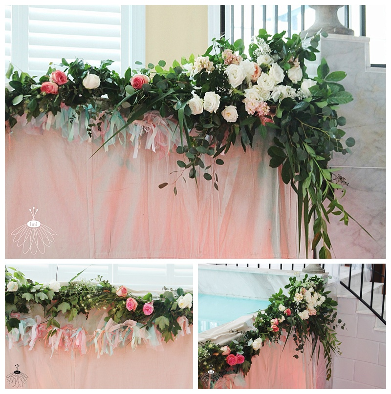 little miss lovely // ocean city md wedding florist // coconut malorie // peach and ivory flower backdrop
