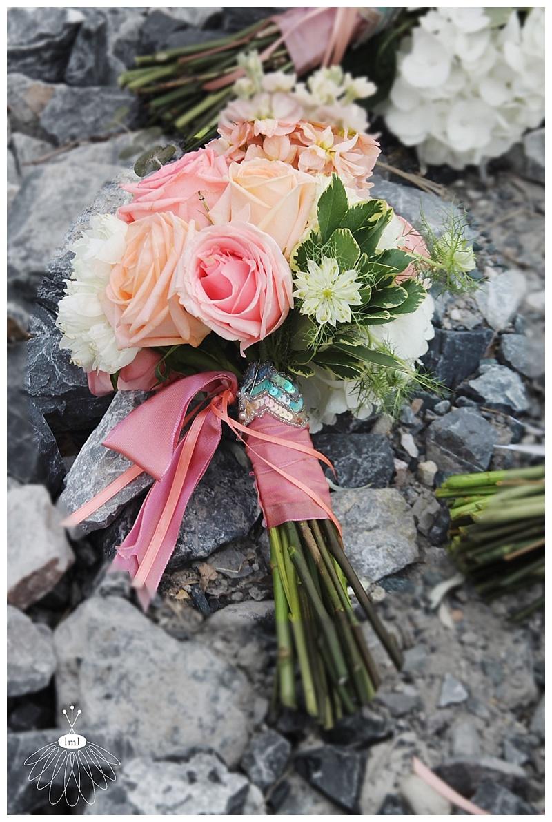 little miss lovely // ocean city md wedding event florist // bridal bouquet // peach and mint rose bouquet