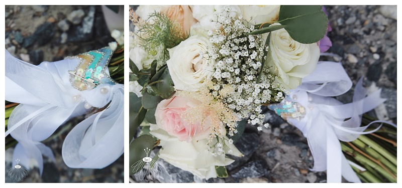 little miss lovely // ocean city md wedding event florist // bridal bouquet // ivory, white, peach with sequin accent
