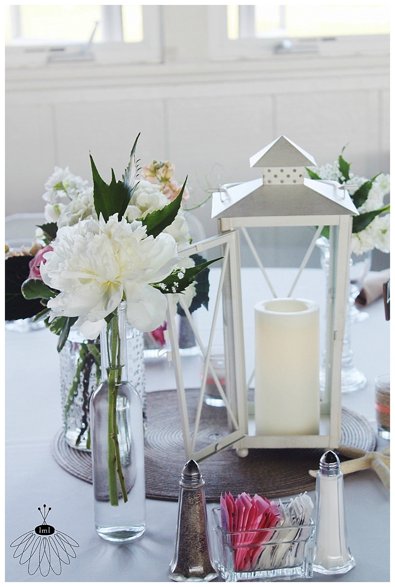 little miss lovely // ocean city md wedding florist // mint and white peony and tulip wedding centerpieces