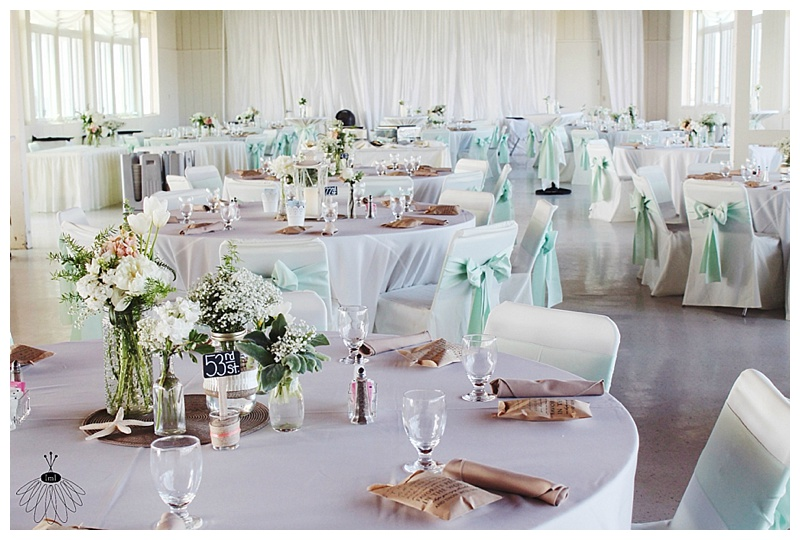 little miss lovely wedding and event florist // mint and peach beach wedding