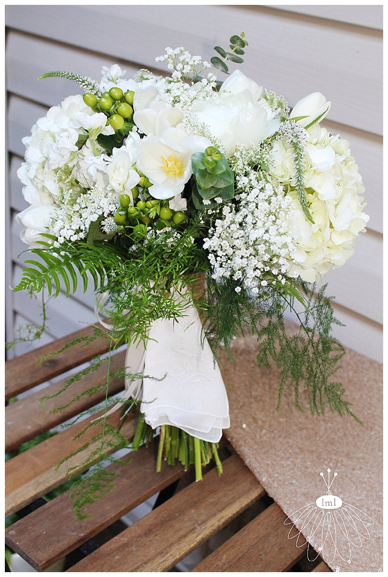 little miss lovely // ocean city md wedding florist // white green bridal bouquet // vintage hankie bouquet