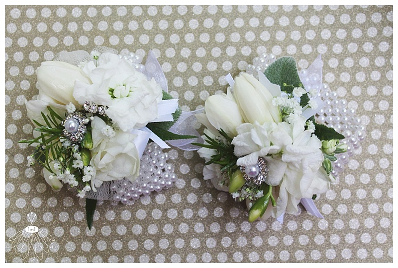 little miss lovely // ocean city md wedding florist // tulip pearl wrist corsages