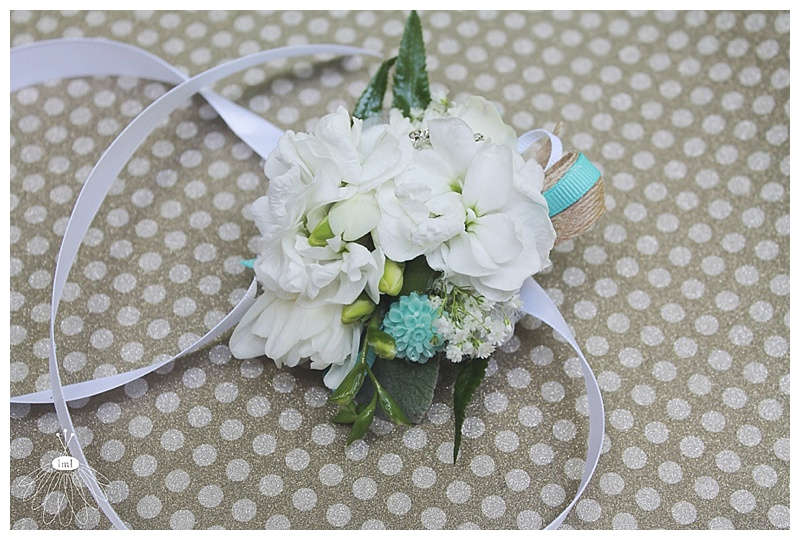 little miss lovely // ocean city md wedding florist // tiffany blue and white wrist corsage
