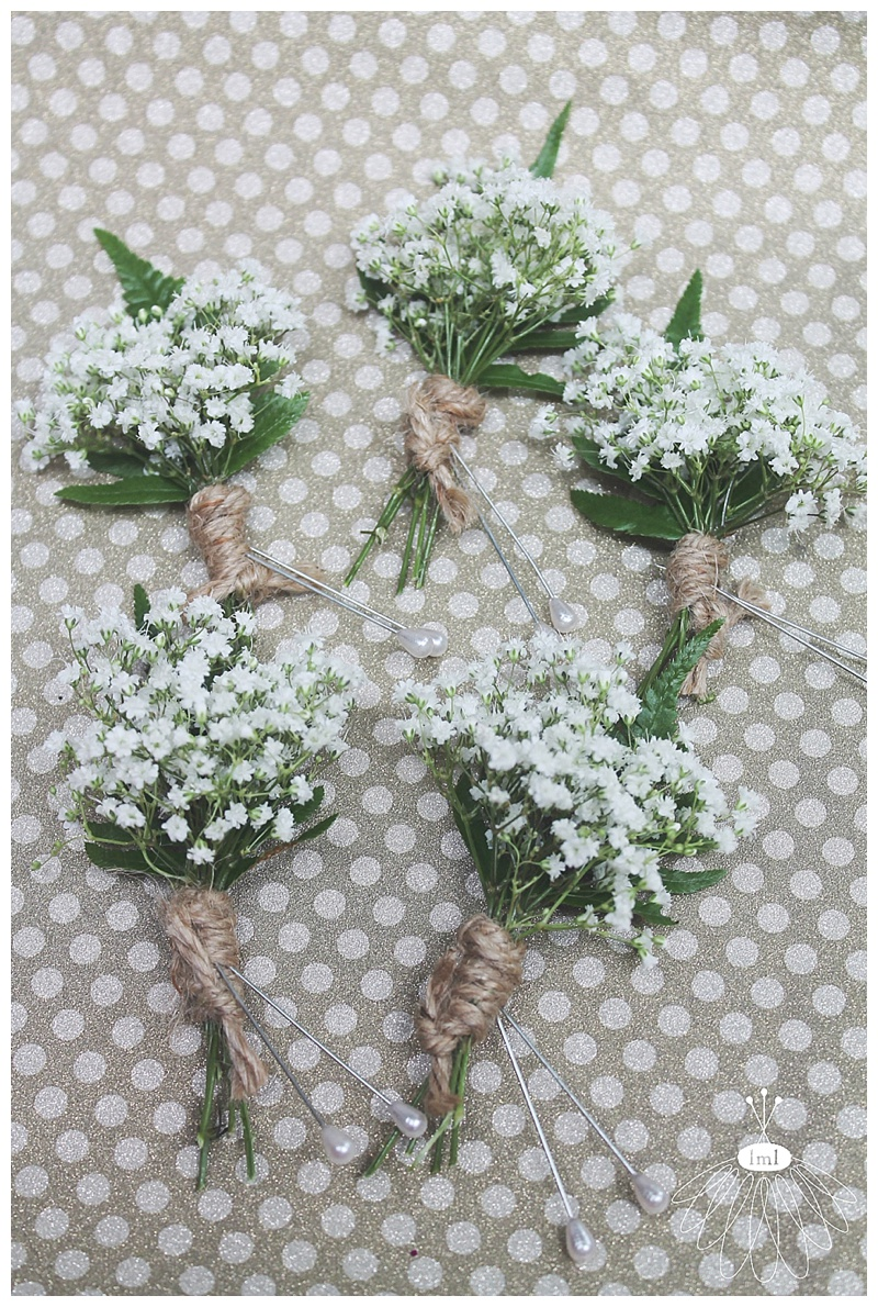 little miss lovely // ocean city md wedding florist // babys breath twine boutonnieres