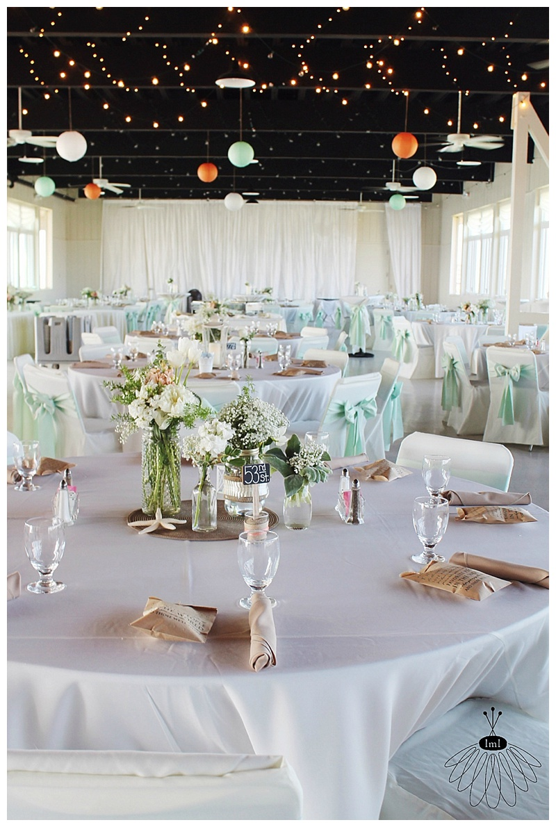 little miss lovely // ocean city md wedding florist // mint and white peony and tulip wedding centerpieces // the sunset room