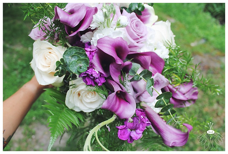 little miss lovely // berlin md wedding florist // cascading purple and white calla lily and rose bouquet