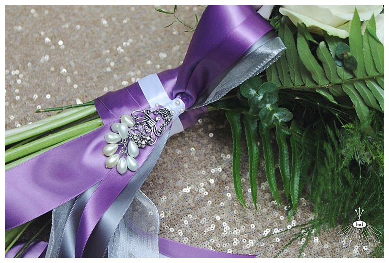 little miss lovely // berlin md wedding florist // purple bouquet wrap with pearls